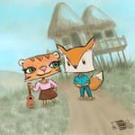 Tiger with ukulele and Fox by tedbergeron