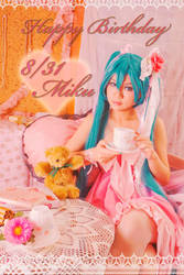 Pink Rose:Happy Birthday Miku by sakana