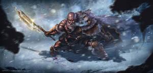 Warrior's snow battle by Aioras