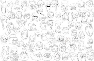 One Piece Chibi Heads WIP by Kibble123