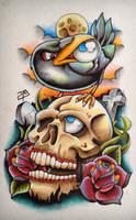 Skull n Crow - Tattoo Design by artisticrender