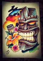 Tiki Tattoo Design by artisticrender