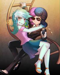 Agent Bonbon and Lyra by iojknmiojknm