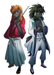 [Commission] Rurouni Kenshin: Kenshin and Sanosuke by iojknmiojknm