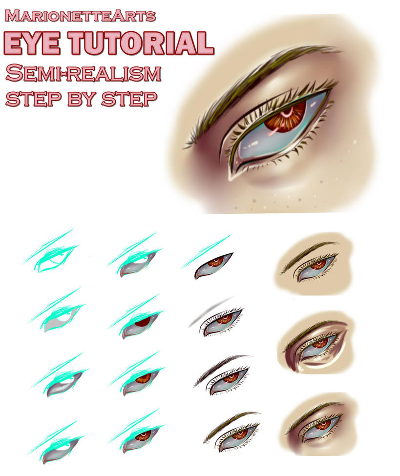 semi realism eye tutorial step by step by marionettearts on deviantart