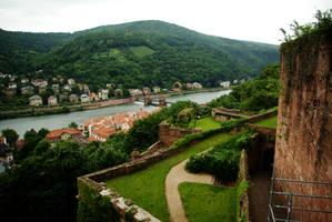 Heidelberg Castle walls - view on river Neckar by steppeland