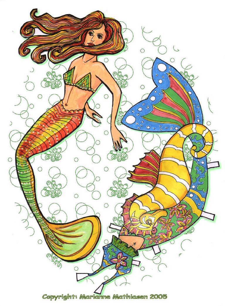 Mermaid paper doll by ranunkel