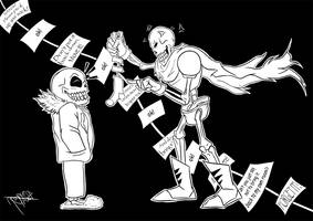 Linetober #12: Sans and Papyrus by JoyceW-Art
