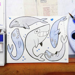 Inktober #12 : whale(s) by Ahzirra