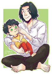 Snape and baby Harry by staypee