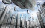 Spaceship + futuristic city by CalebPerkins