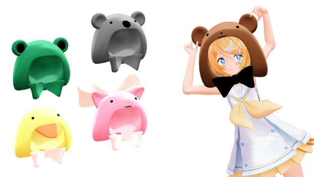 MMD DL : Animal hoods (download) by HoshichoM