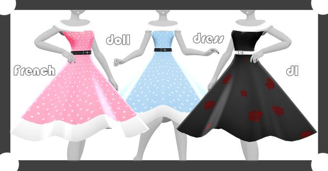 MMD DL : French doll dress download by HoshichoM