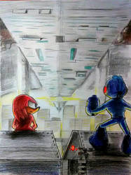 Mega and Knuckles -The city of knowledge- by shadowmanwily
