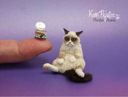 Miniature 1:12 Grouchy Cat Sculpture by Pajutee