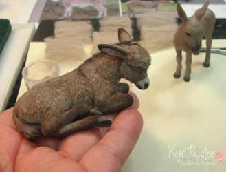 Dollhouse Miniature Sleeping Donkey - 2010* by Pajutee
