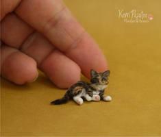 Miniature Kitten Sculpture of polymer clay/fiber by Pajutee