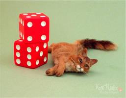 Miniature Somali Cat sculpture by Pajutee