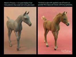 WIP 1:12 scale Arabian foal sculpture by Pajutee