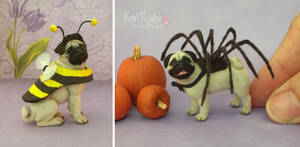 Miniature Pug sculptures in costume... by Pajutee