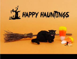 Miniature Black Cat Sculpture by Pajutee