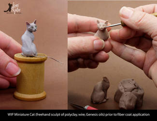 WIP Miniature Cat Sculpture - no fur by Pajutee