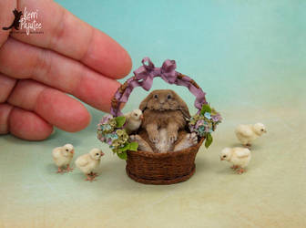 Miniature French Lop sculpture by Pajutee