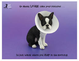 Miniature scale Boston Terrier sculpture by Pajutee