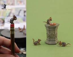 Miniature Golden-mantle Ground Squirrel sculptures by Pajutee