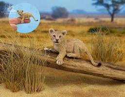 Miniature 1:12 Lion Cub sculpture by Pajutee