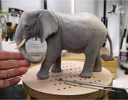 Miniature 1:12 Elephant sculpture by Pajutee