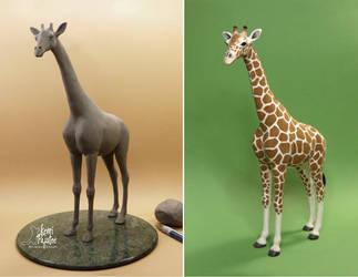 Miniature Giraffe Sculpture of clay and fiber by Pajutee
