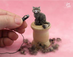 Miniature shaved Persian Cat sculpture by Pajutee
