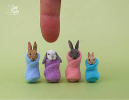 Miniature Wrapped Rabbit sculptures by Pajutee