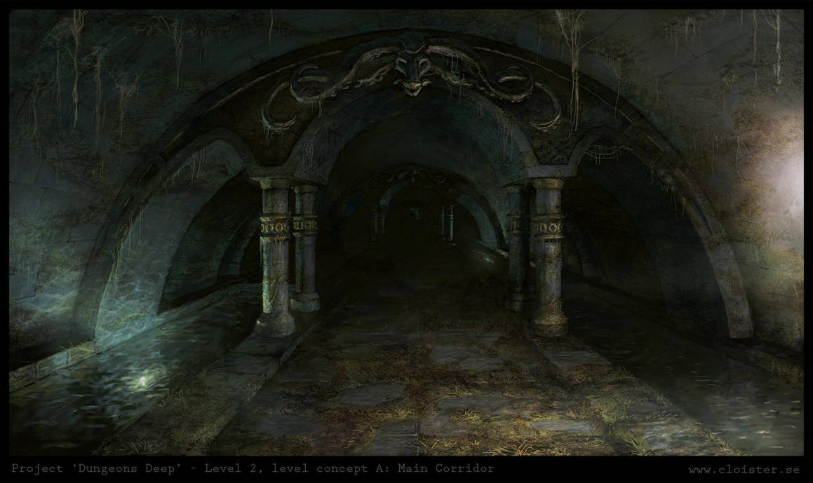 Dungeon level 2 - level concept A: Main Corridor by Cloister