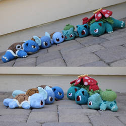 Squirtle/Bulbasaur Group Evolutions by aphid777