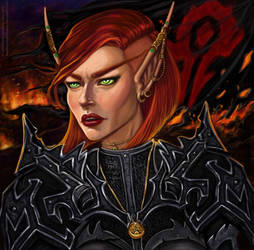 Commission : Jema Blood Elf Warrior by BleedingHeartStudios