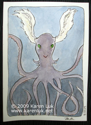 SF Zinefest, winged octopus by karenluk