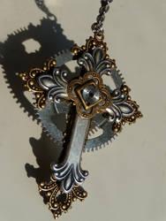 Steampunk cross pendant by Hiddendemon-666