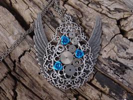 Steampunk gear necklace by Hiddendemon-666