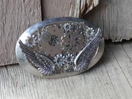 Steampunk silver belt buckle by Hiddendemon-666
