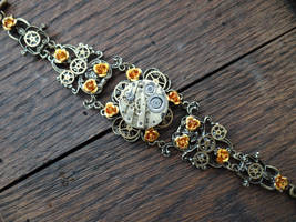 Steampunk rose bracelet by Hiddendemon-666