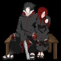 Commission for SasusRedhead | Sasuke and Akari by sharkimi