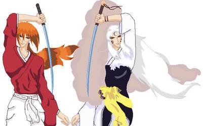 Himura Kenshin and Sesshomaru by LoveTheDarkerOnes