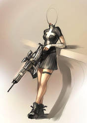 Some girl with guns. by Morriperkele