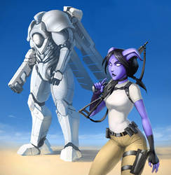 Draenei and Robot by Morriperkele
