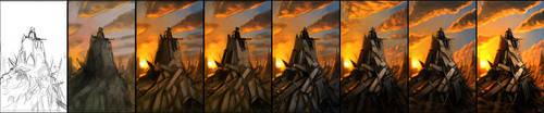 Sunset steppes by Morriperkele