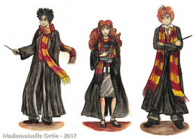 Harry, Hermione, Ron by MademoiselleOrtie