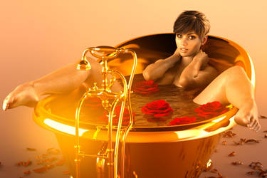 Rebeca in golden bath by BestmanPi