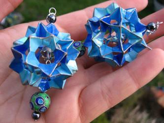 blue electra origami earrings by Suzuko42